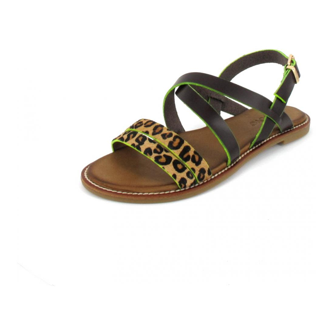 Inuovo Sandale Sandals Leo-Brown-Neon Ye