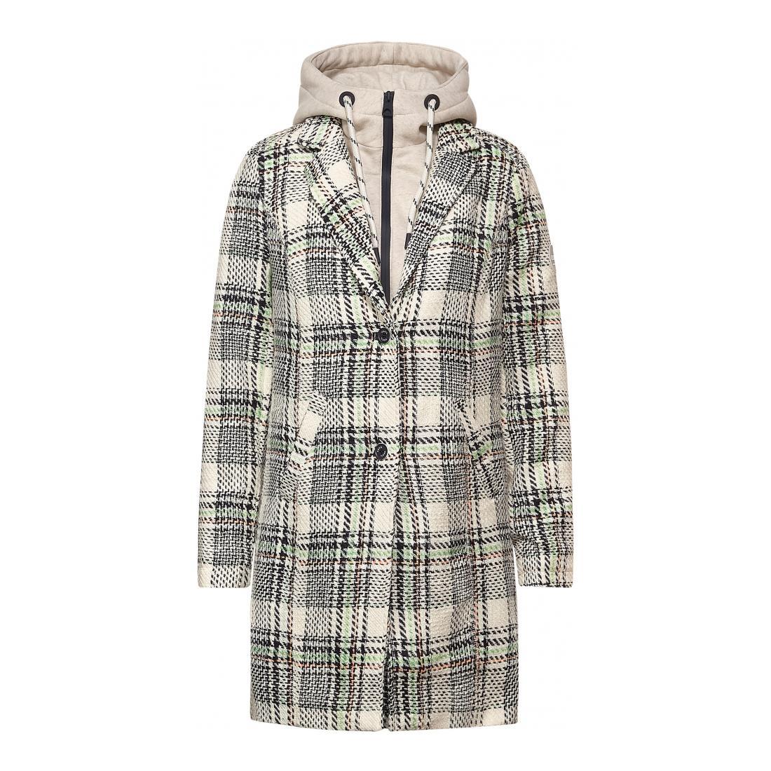 Cecil Mantel Damen Check Coat w. Sweat Inser
