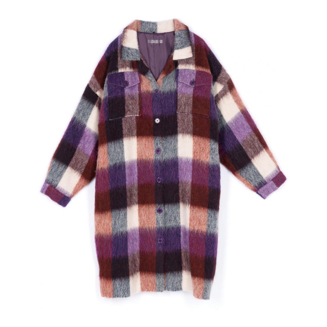 UNQ Mantel Damen Karierter Hemd-Mantel