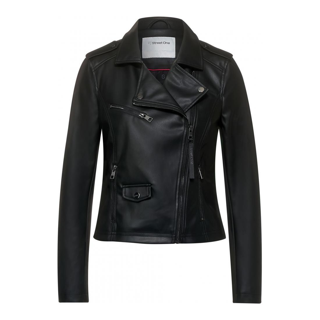 Street One Damen  Blazer Freizeit LTD QR PU Biker Jacket