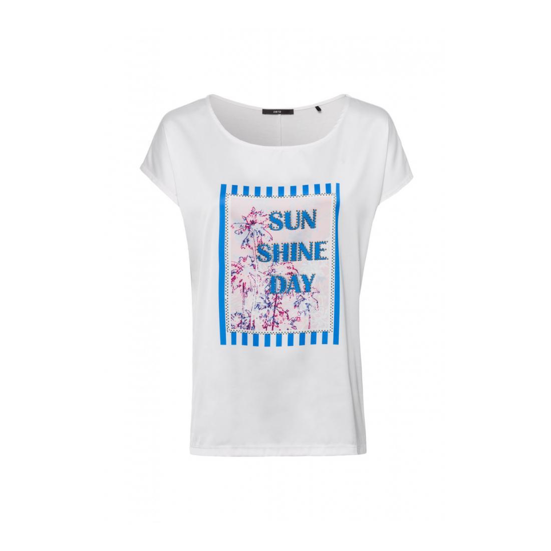 Zero T-Shirt Damen Tshirt Rundhals gewebte F