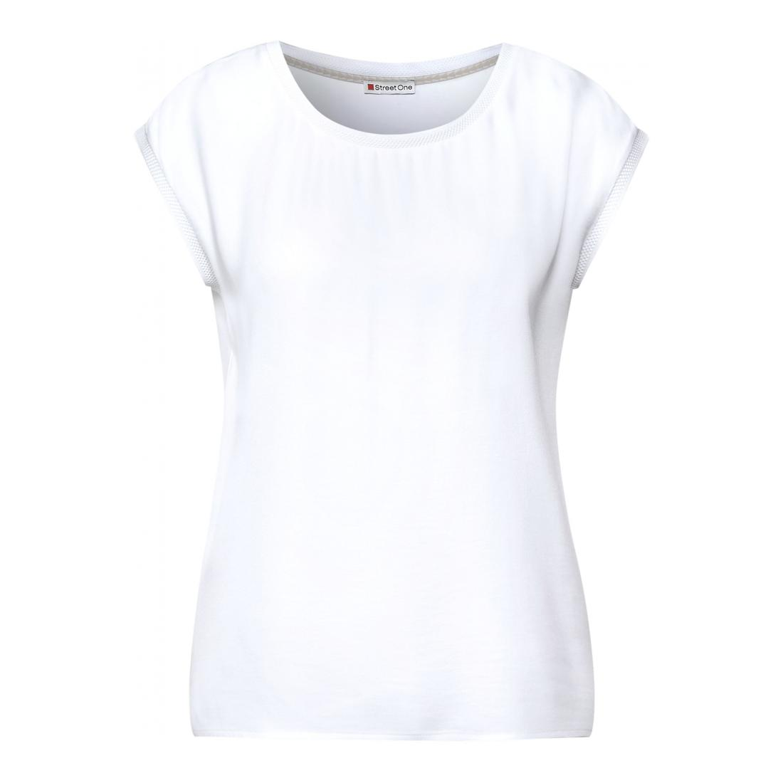 Street One T-Shirt Damen QR mat-mix top w.rib tape