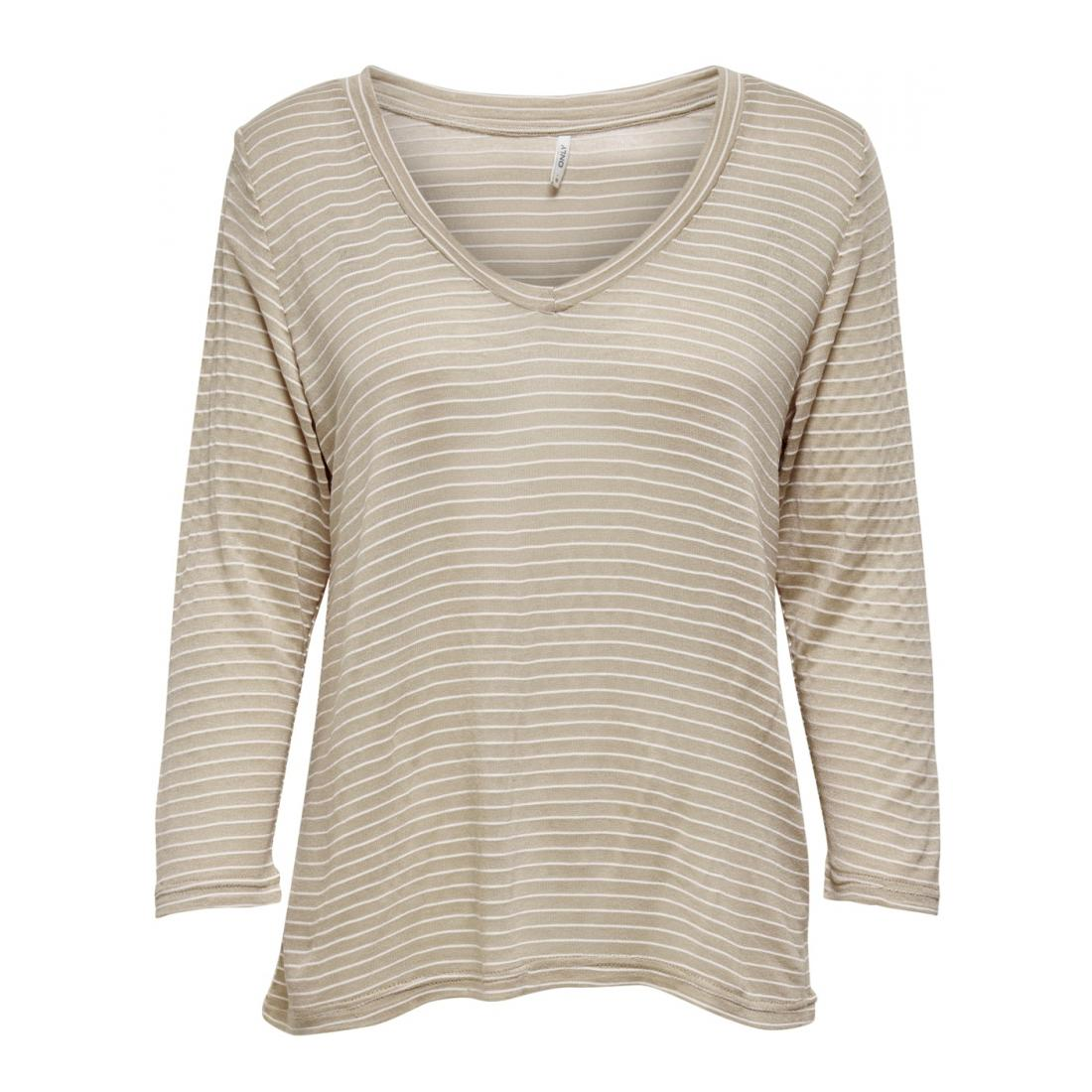 Only Longsleeves Damen ONLNITA 3/4 V-NECK TOP JR