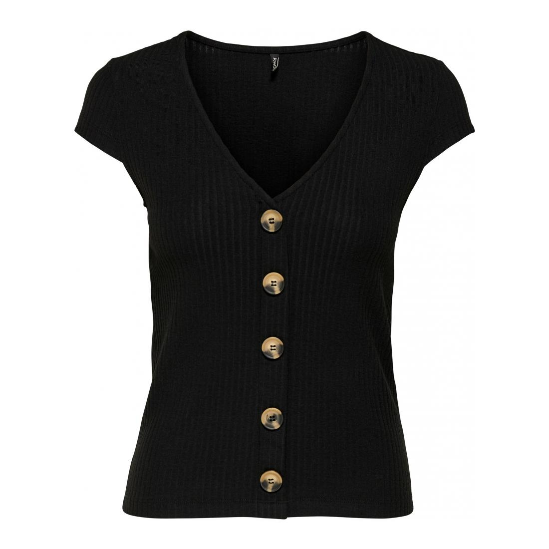 Only T-Shirt Damen ONLNELLA S/S BUTTON TOP N