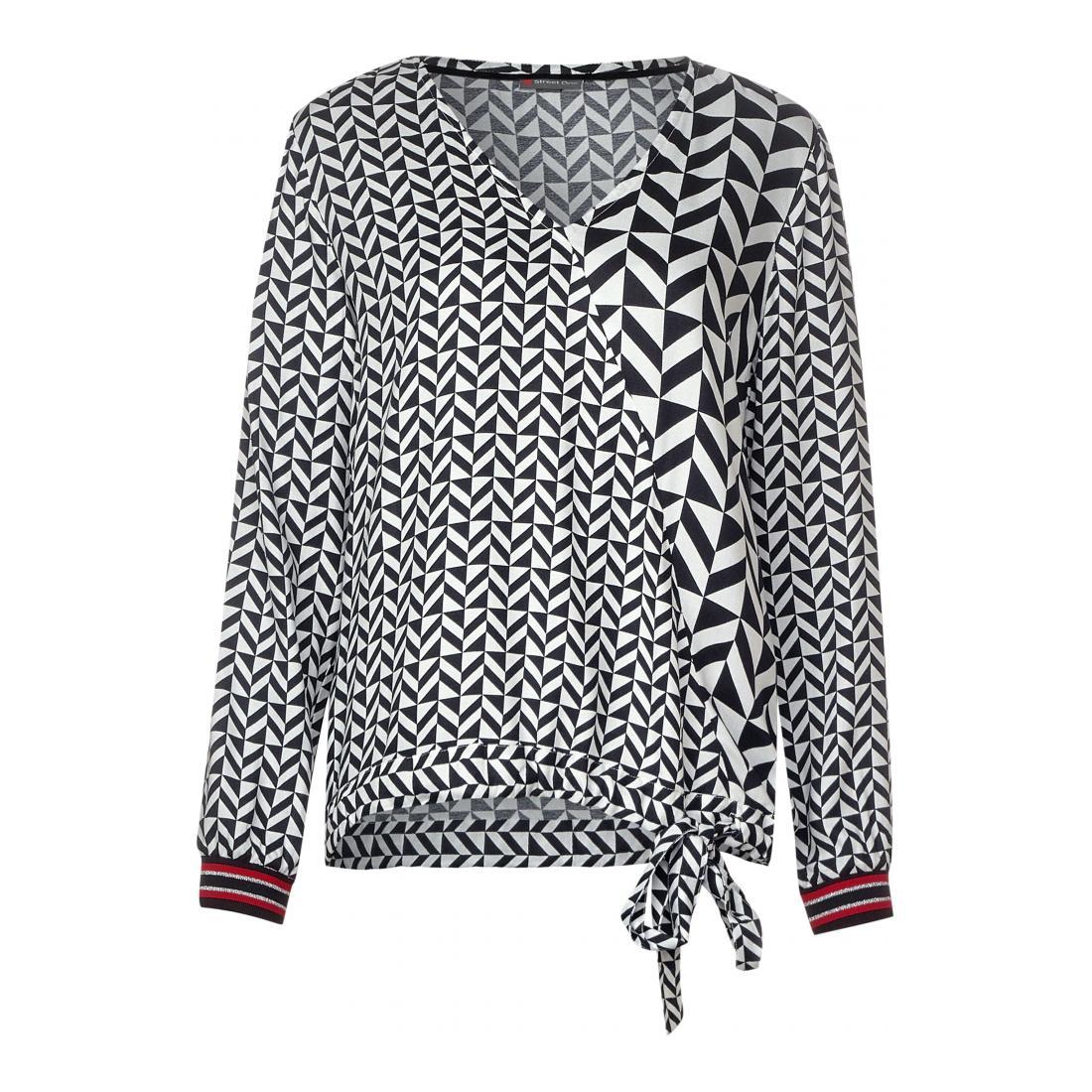 Street One  Printmix blouse w tie det