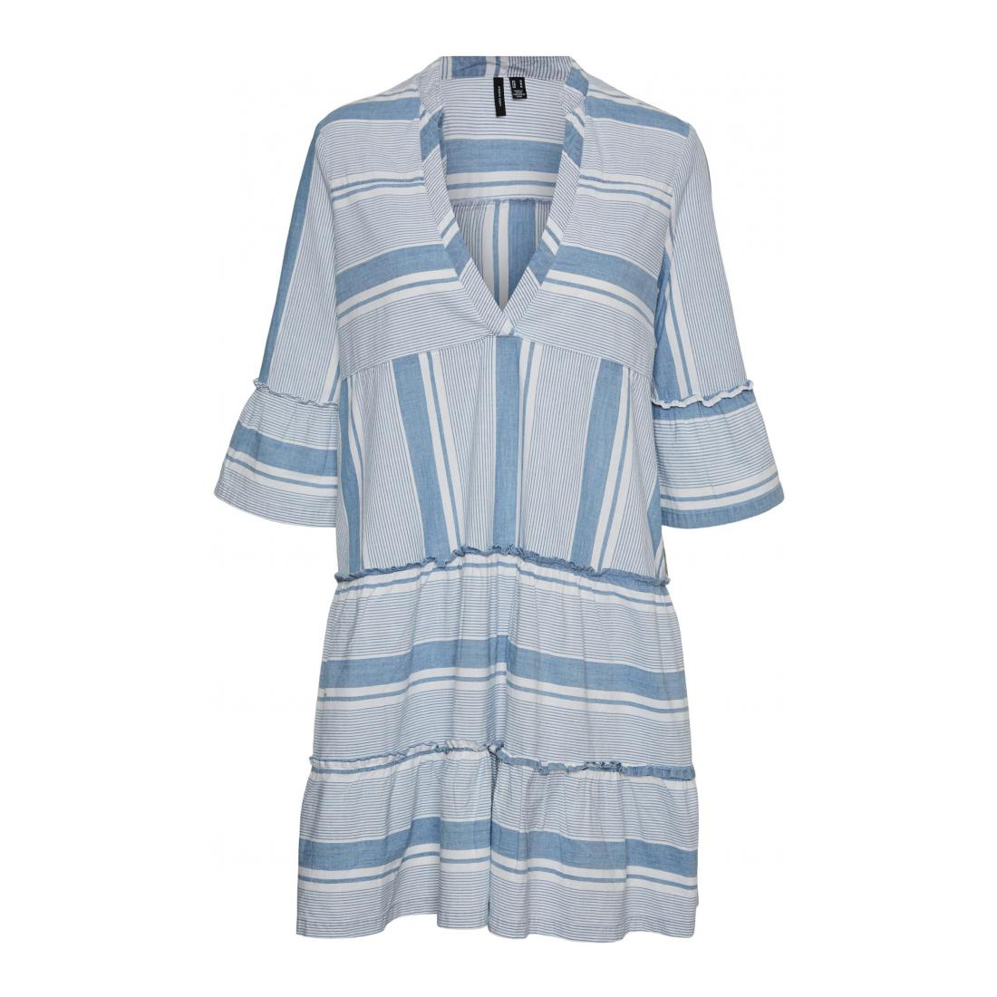 Vero Moda Kleider kurz Damen VMAKELA 3/4 CHAMBRAY TUNI