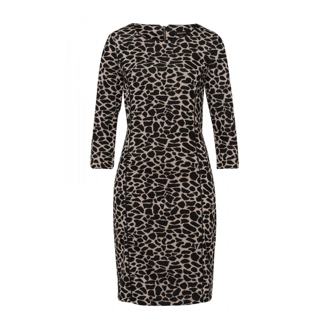 More & More Kleider kurz Damen Animal Jacquard Dress Act